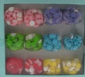 36 of solid acrylic hexagon ring with embedded circles assorted colors
