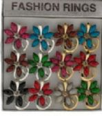 36 of Silver tone and gold tone rings with assorted colored stones in a flower pattern