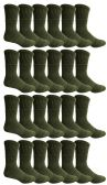 24 of Yacht & Smith Military Grade Wick Dry Crew Socks ,Heavy Duty Boot Sock, Army Green