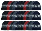 36 of Yacht & Smith Unisex Snowflake Fleece Lined Winter Beanie 6 Colors