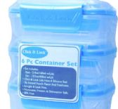 12 of 6 Piece Plastic Container With Click And Lock Lids