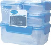 6 of 8 Piece Plastic Container With Click And Lock Lids