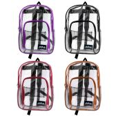 "24 of 17"" Kids Clear Backpacks in 6 Assorted Colors"