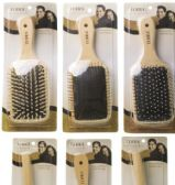 144 of Terra Single Wooden Hairbrush, Asssorted Styles