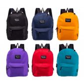 "24 of 17"" Bulk Backpacks in 8 to 12 Randomly Assorted Colors"