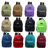 "24 of 17"" Kids Basic Backpack in 12 Assorted Colors"