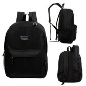 "24 of 17"" Classic Black Backpack - Bulk Case of 24 Bookbags"