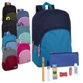 24 of Preassembled 15 Inch Backpack & 12 Piece School Supply Kit - 8 Colors