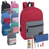 24 of Preassembled 17 Inch Color Block Backpack & 12 Piece School Supply Kit - 8 Colors