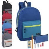 24 of Preassembled 17 Inch Color Block Backpack & 12 Piece School Supply Kit - 5 Colors