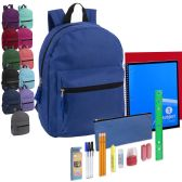 24 of Preassembled 15 Inch Basic Backpack & 20 Piece School Supply Kit - 12 Color