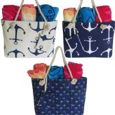48 of Para-Sail Large Fabric Beach Bag Assortment With Rope Handle