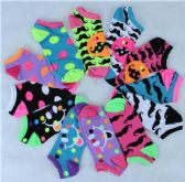 120 of Assorted Printed Women's Cotton Blend Ankle Socks