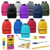 "24 of 15"" Backpacks with 12 Piece School Supply Kit - In 12 Assorted Colors"
