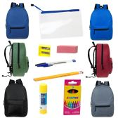 "24 of 17"" Backpacks with 12 Piece School Supply Kit - In 6 Assorted Colors"
