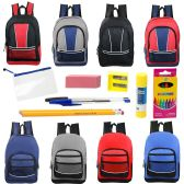 """48 of 17"""" Backpacks With 12 Piece School Supply Kit In 8 Assorted Styles Sport"""