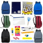 """24 of 15"""" Backpacks In 6 Assorted Colors with 20 Piece Wholesale School Supply Kit"""