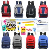 """24 of 17"""" Backpacks With 20 Piece School Supply Kit in 8 Assorted Styles Sport"""