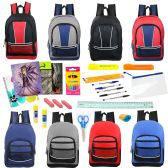 """24 of 17"""" Backpacks with 30 Piece School Supply Kit - In 8 Assorted Styles"""