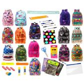 """24 of 17"""" Backpacks With 30 Piece School Supply Kit - In 8 to 12 Prints"""