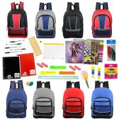 """24 of 17"""" Backpacks With 53 Piece School Supply Kit In 8 Assorted Styles Wholesale Sport"""
