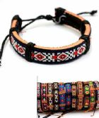 96 of Embroidered Pattern Faux Leather Bracelet