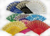 96 of Colorful Fans Assorted Flower Prints with Gold Accents