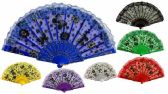 96 of Colorful Fans Flower with Butterfly Print Lace Assorted