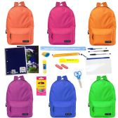 """24 of 17"""" Backpacks with 20 Piece School Supply Kit - In 6 Assorted Colors"""
