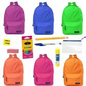 """24 of 17"""" Backpacks With 12 Piece School Supply Kit - In 6 Assorted Colors"""