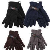72 of Men's Fleece Glove's - Assorted Colors