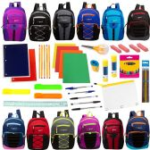 """18 of 17"""" Assorted Backpacks with 53 Piece School Supply Kit"""