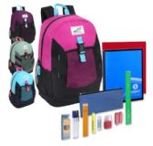24 of Preassembled 18 Inch High Trails Clip Pocket Backpack & 20 Piece School Supply Kit - Girls