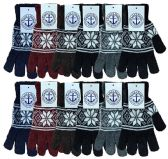 12 of Wholesale Bulk Winter Magic Gloves Warm Brushed Interior, Stretchy Assorted Mens Womens (Mens/Snowflakes, 12)