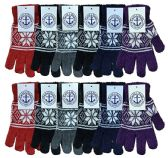 12 of Wholesale Bulk Winter Magic Gloves Warm Brushed Interior, Stretchy Assorted Mens Womens (Womens/Snowflakes, 12)