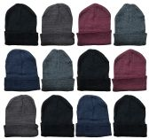 12 of YACHT & SMITH 12 Pack Winter Beanie Hats, Thermal Stretch Unisex Cuffed Plain Skull Knit Hat Cap (Assorted Pack A)
