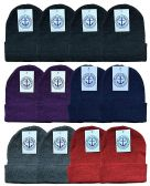 12 of YACHT & SMITH 12 Pack Winter Beanie Hats, Thermal Stretch Unisex Cuffed Plain Skull Knit Hat Cap (Assorted Pack B)