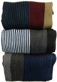 15 of Yacht&Smith 3 Pack Mens Designer Winter Scarves, Stripe Patterned Neck Scarf - Price Per 3
