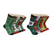 360 of Women's Holiday Print Crew Socks Size 9-11