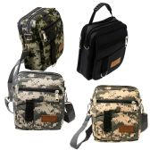 24 of 8 Inch Men's Crossbody Bags In 3 Camo Prints And Black Assorted