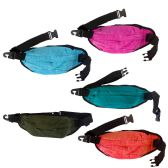 24 of Water Resistant Large Bulk Fanny Packs Belt Bags In 5 Assorted Colors
