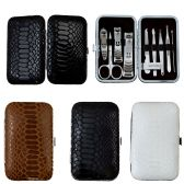 24 of 9 Piece Stainless Steel Manicure Set In 3 Assorted Snake Skin Colors
