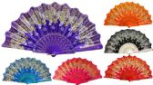 48 of Hand Fan with Glittery Butterfly Design Assorted Colors