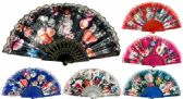48 of Hand Fan with Flowers and Lace Assorted Colors