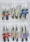 48 of Metal Hair Clamp Rhinestone Butterfly Design