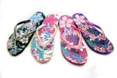 48 of Womens Flowery Flip Flops With Decorative Straps