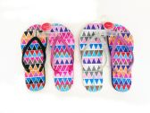 48 of WOMENS FLIP FLOPS ZIGZAG PRINT WITH GLITTERING STRAPS