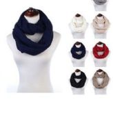 24 of Womens Acrylic Winter Scarf Crochet Knit Tube Scarf Assorted Color