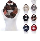 24 of Womens Acrylic Winter Scarf With Pattern Tube Scarf Assorted Color