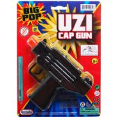 "48 of 5.75"" BLACK SUPER CAP TOY UZI ON BLISTER CARD"